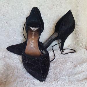 Emporio Armani black satin formal heels size 36